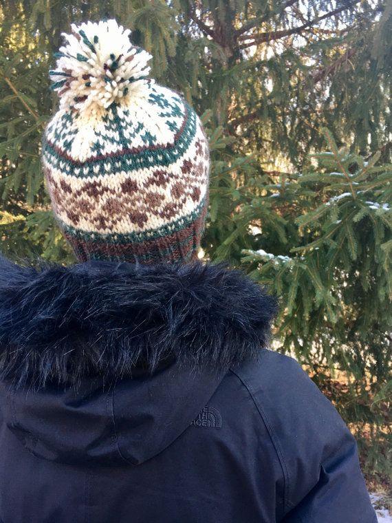 Fair Isle SKI HAT pom pom beanie handknit pine tree motif | Fair ...