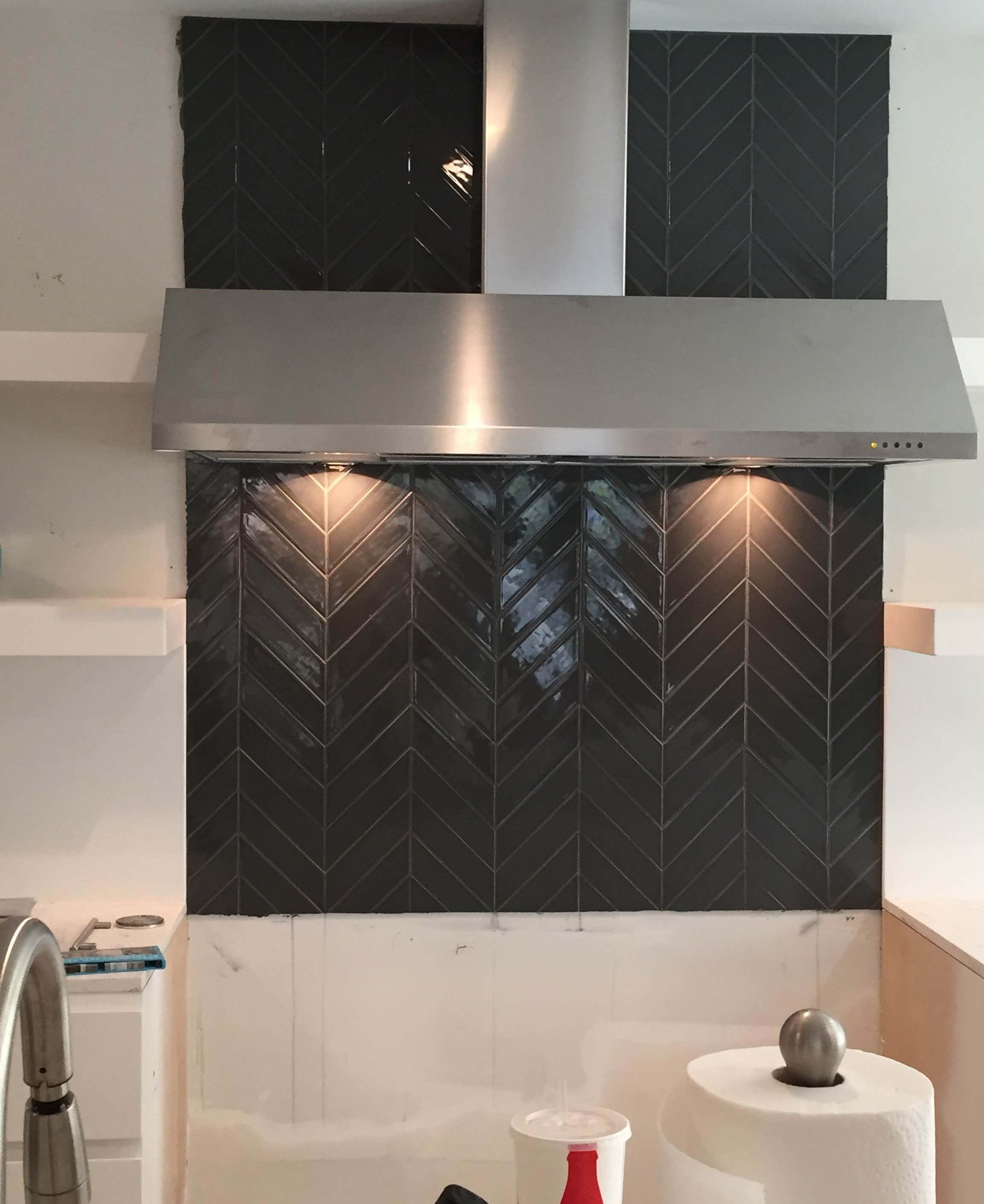 Modwalls kiln ceramic chevron carbon gray tile behind stove our ceramic subway tile in grey color carbon is a sustainable tile handmade in the usa dailygadgetfo Choice Image