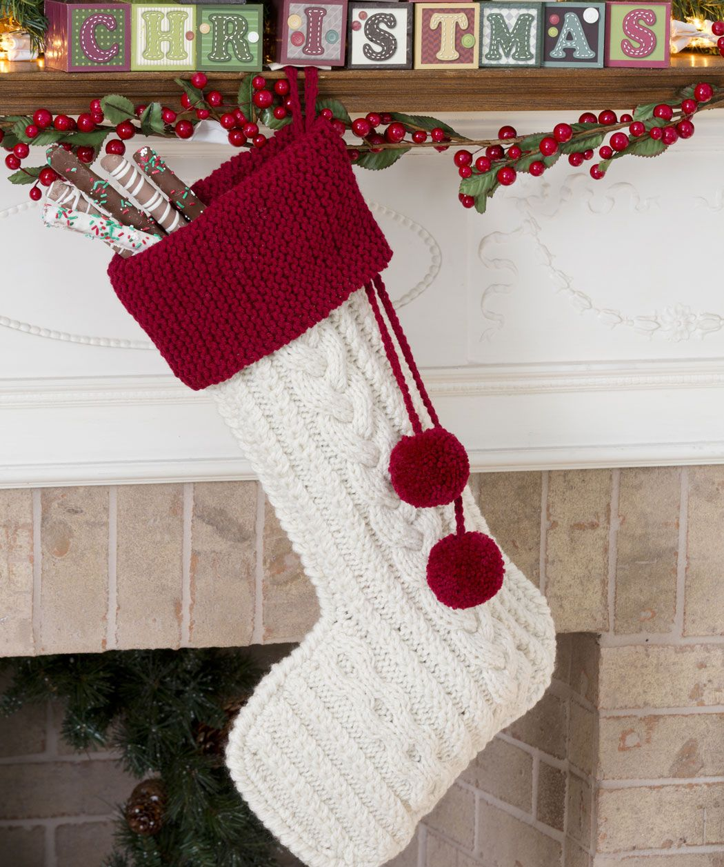 3 of these would look just lovely hanging from the mantle over one knit cable stocking in red heart super saver economy solids discover more patterns by red heart yarns at loveknitting the worlds largest range of bankloansurffo Images
