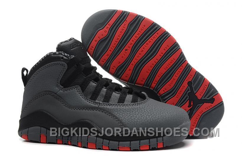 Big Kids Jordan Shoes Kids Air Jordan 10 Retro Dark Grey  Kids Air Jordan  10 - Kids Air Jordan 10 Retro Dark Grey features an all cool grey leather  upper ... 998100021