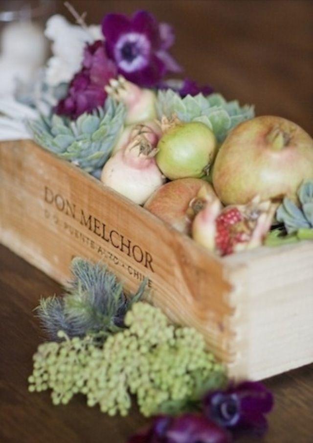 Love. Love. Love fruit, vegetable and flower arrangements on tables!