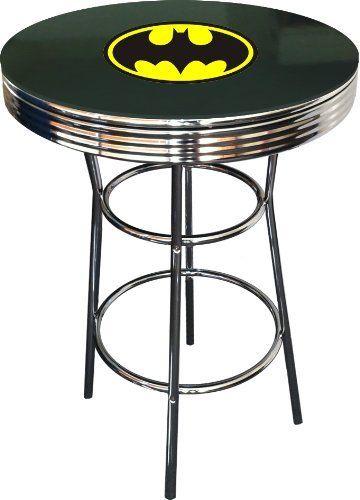 b99949b5307 Chrome Metal Round Bar Table with Glass Table Top   Batman Bat Signal Theme  Logo Amazon Home   Kitchen
