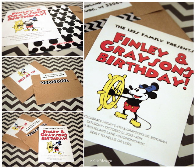Vintage Mickey Mouse Birthday Party Invitation by nellie*design