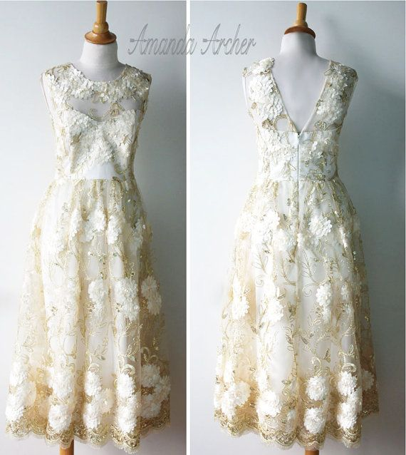 311961aae756 Tea Length Wedding Dress Golden Afternoon by AmandaArcher on Etsy ...