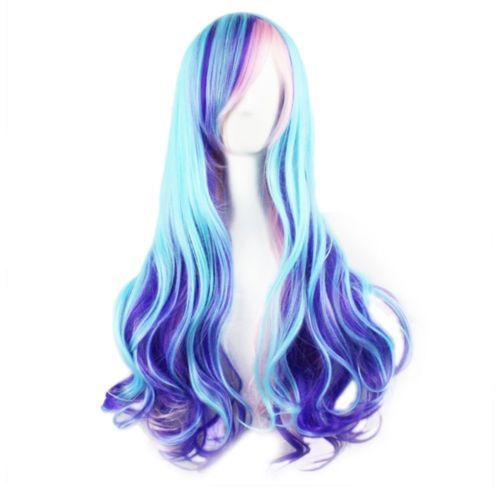 Harajuku Ombre Highlights Gradient Blue Pink Wigs Synthetic Halloween Cosplay