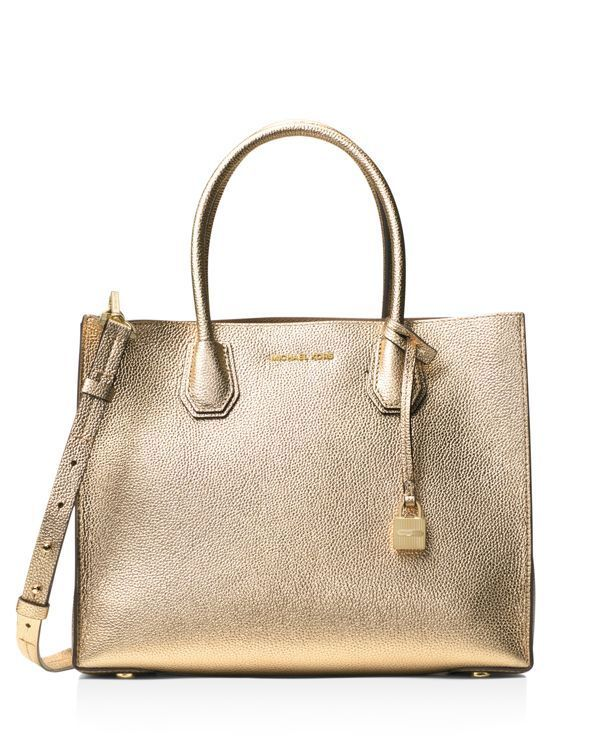 b5e8a6b723d Michael Michael Kors Studio Mercer Large Convertible Metallic Pebbled  Leather Tote