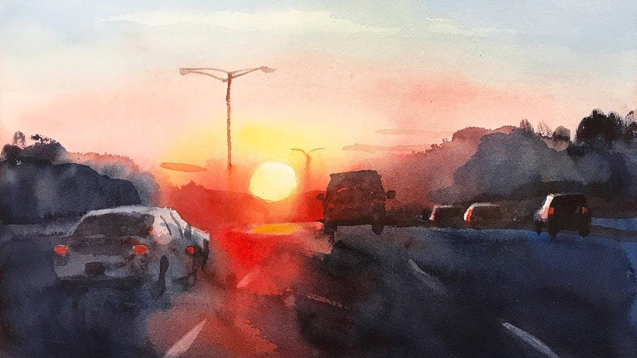Sunrise On The Highway Landscape Painting With Watercolor