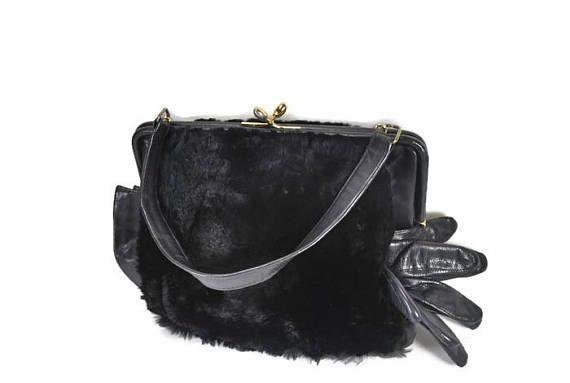 dcffb0e91 1960's Black Fur Hand Muff Purse Vintage Rabbit Fur Hand | Vintage ...