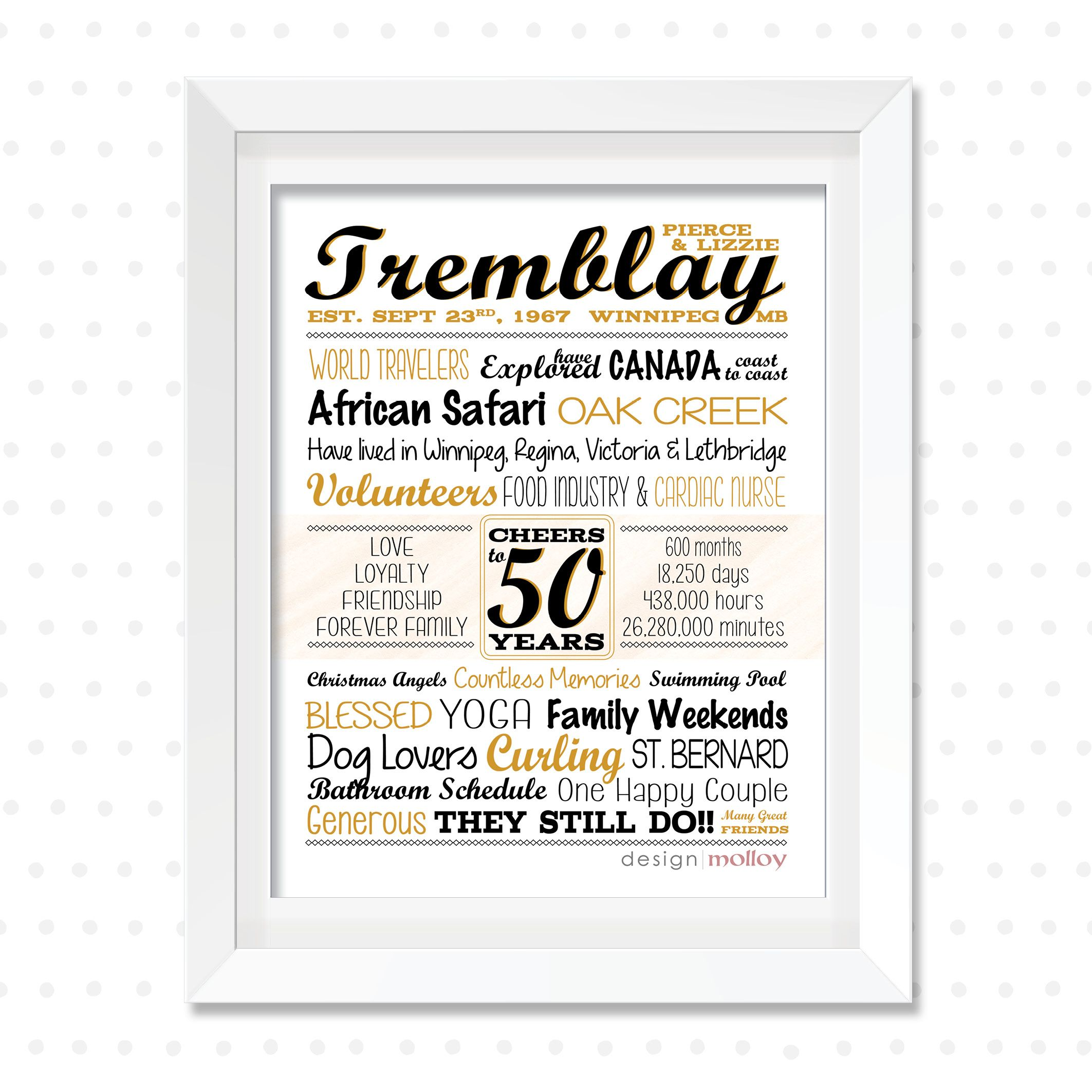 50th Anniversary Gifts For Parents 50th Wedding Anniversary Etsy Anniversary Gifts For Parents Marriage Anniversary Gifts 50th Anniversary Gifts