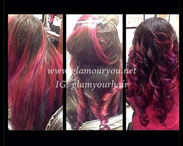 traditional weave with purple & pink ombré www.glamouryou.net
