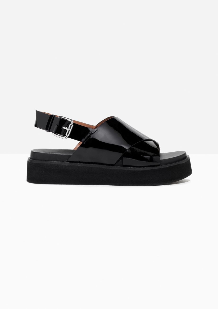 20ebd3f26d69   Other Stories image 1 of Patent Leather Cross Strap Sandal in ...