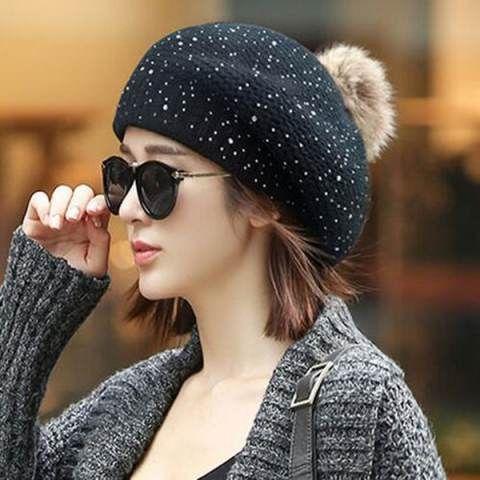 Knit Pattern Beanie Beret Pom Pom Hat For Women Womenitems