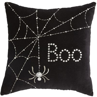 Halloween Black Mini Boo Pillow --- perfect for decorticating your bed for halloween!