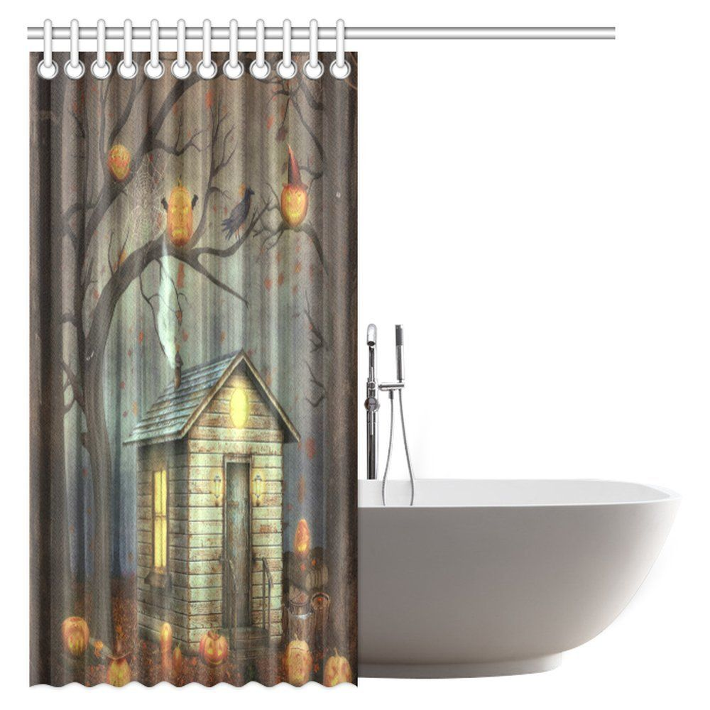 Interestprint Halloween Decorations Shower Curtain Old House In A