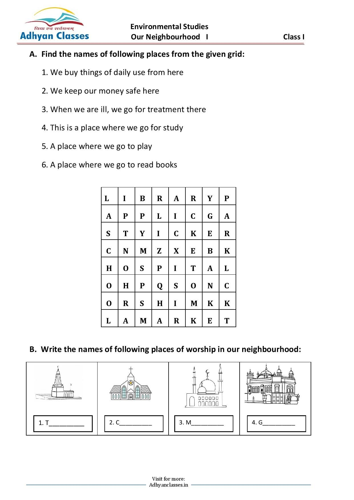 small resolution of Our Neighbourhood Worksheet II for Grade I   Phonics rules