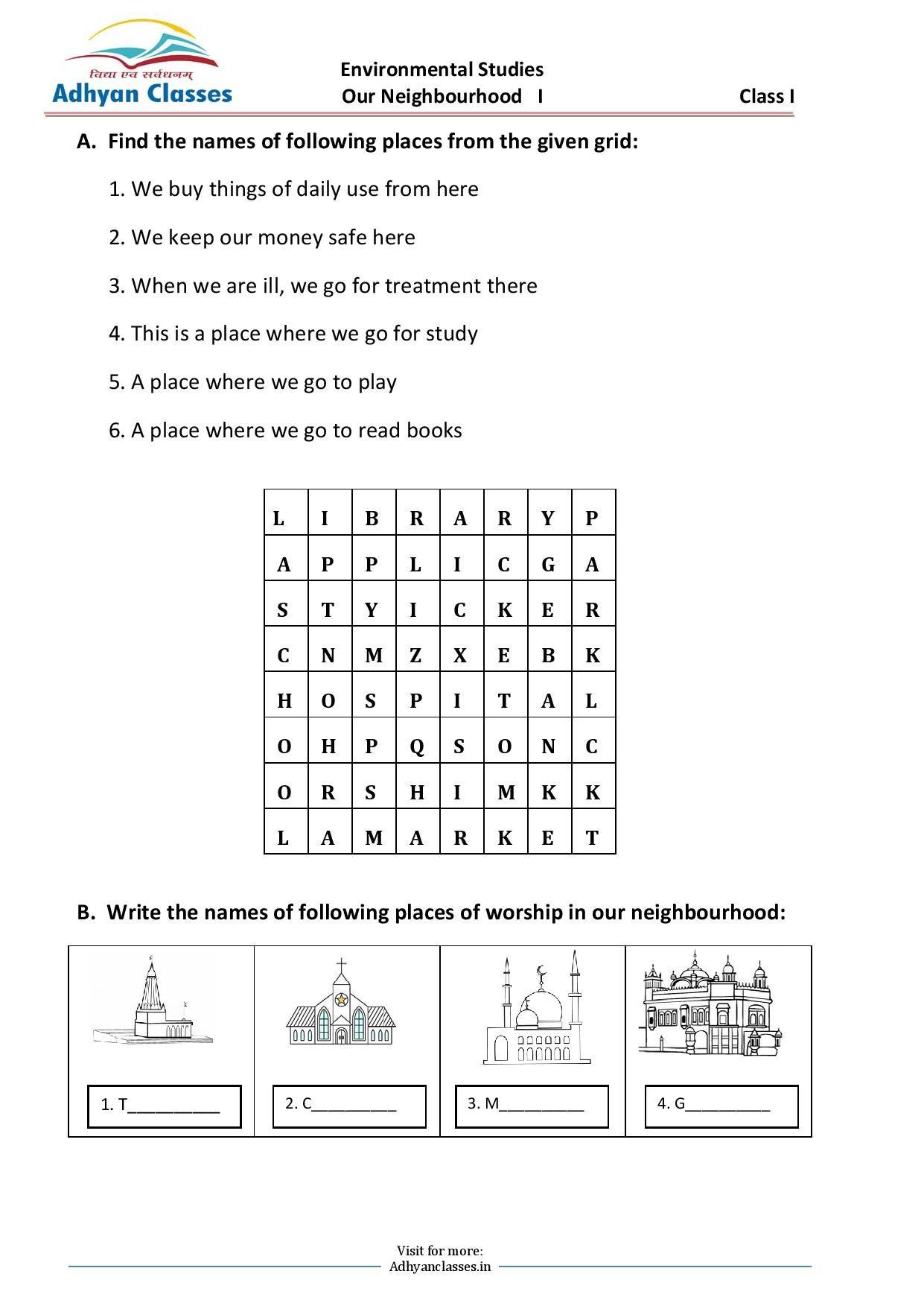 medium resolution of Our Neighbourhood Worksheet II for Grade I   Phonics rules