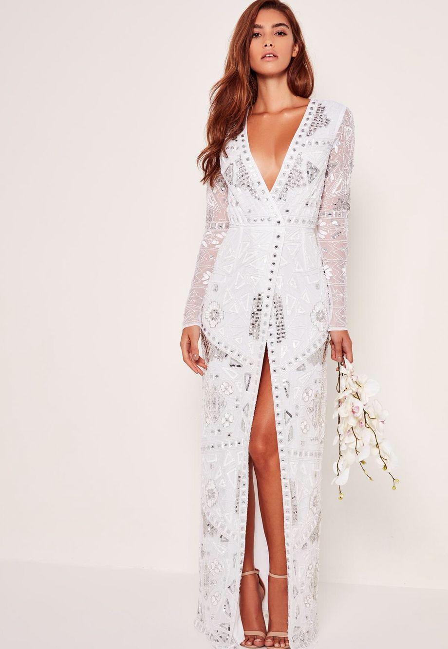 86c88738 missguided bridal sequin wrap maxi dress | prom dress favorites ...