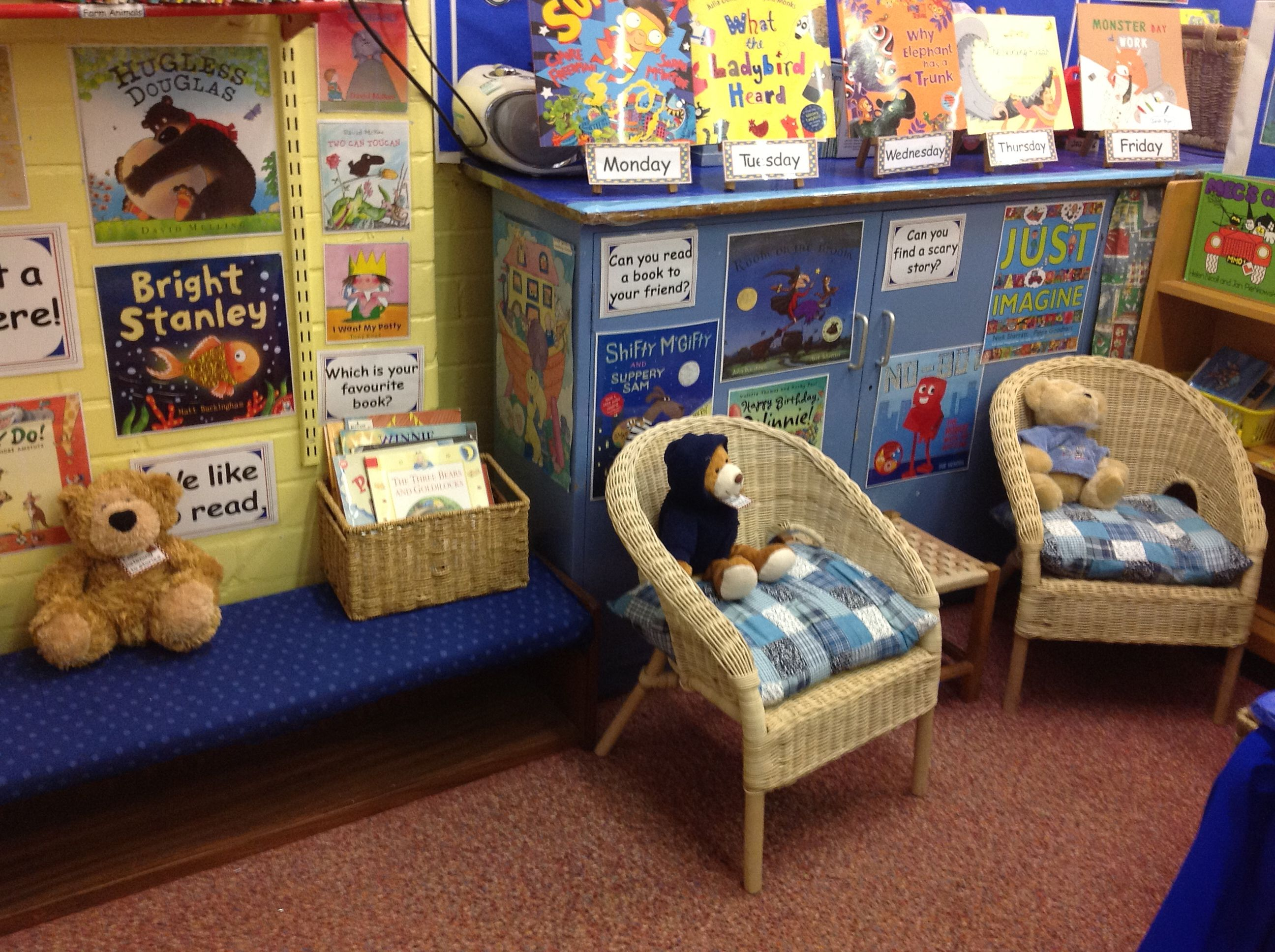 One half of our Book Corner. The \'Listening Bears\' are waiting for ...