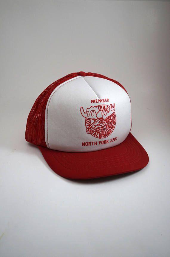 07be3a604 Vintage Loyal Order Of Moose Snapback Hat // Meshback Trucker Style ...