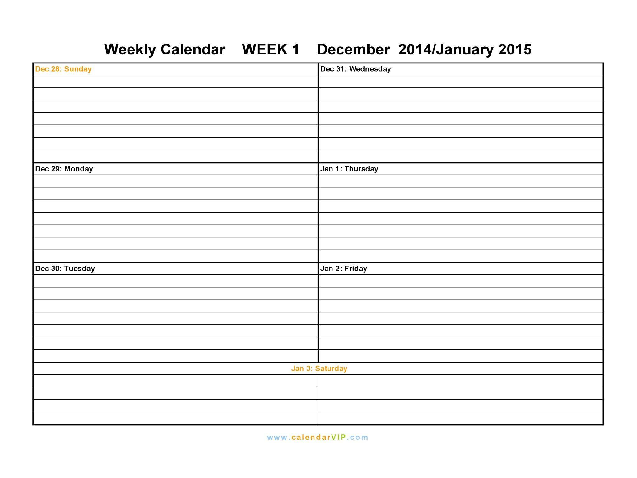 Weekly Calendar  PrintableWeeklyCalendarPages