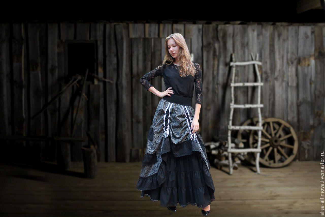 """Купить Шикарная юбочка """"Черная роза"""" - черный, цветочный, бохо юбка, длинная юбка"""