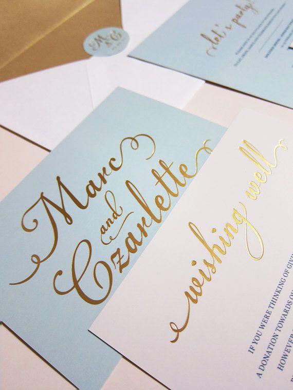 Azul claro con hoja de oro de invitacin de por littlebridgedesign light tiffany blue with gold foil wedding invitation deposit stopboris Choice Image