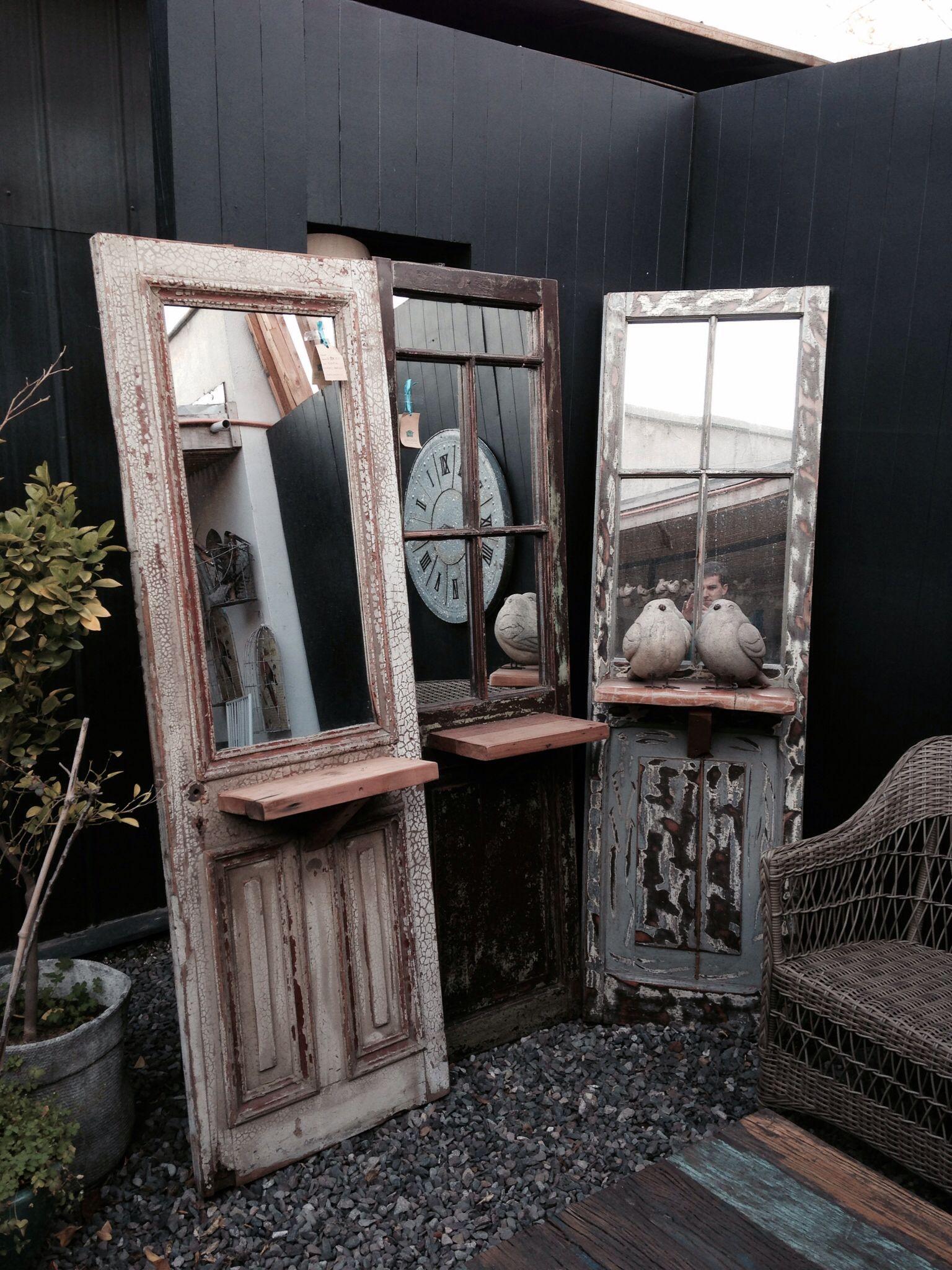 Puerta antigua con espejo decoracion eco rustico for Decoracion con puertas antiguas