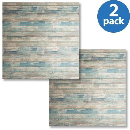 Roommates Blue Distressed Wood Peel and Stick Wall Décor