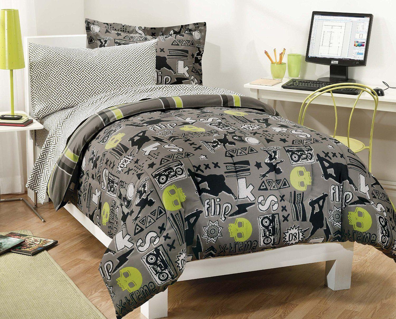 Teen Boys And Teen Girls Bedding Sets Boys Comforter Sets - Contemporary green comforter set