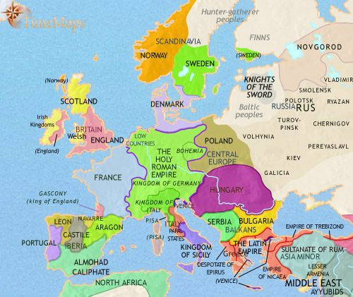 history map of Europe 1215AD World History