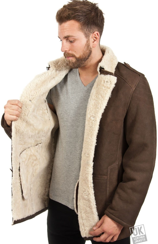 Rugged Mens shearling Sheepskin Coat