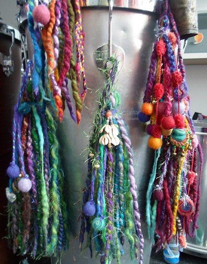 Large Gypsy Tassel ~ Drum Tassels, Indian Ethnic Home Decor, Tribal Belly Dance Tassels, Rainbow Festival Tribal Pixie Earth Felted