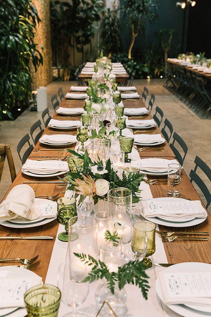 Modern Urban Jungle Wedding | Wedding table centerpieces ...