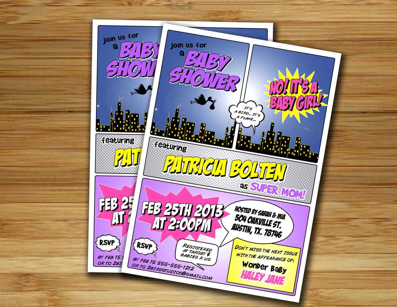 Superhero baby shower invitation - Superhero girl baby shower invite- DIY superhero couples shower comic printable decorations. $18.00, via Etsy.