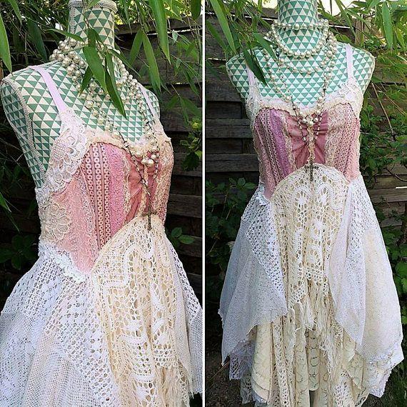 Bohemian chic schäbigen alten Spitzen Kleid. Hochzeit   Stoffe ...