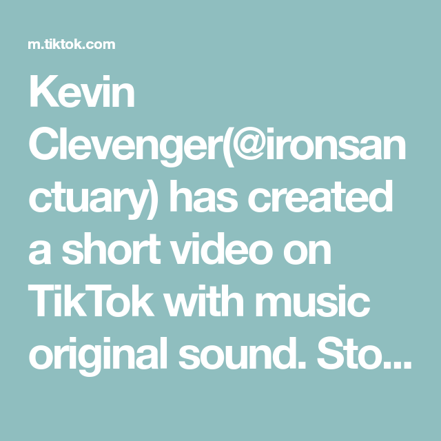 Kevin Clevenger Ironsanctuary Has Created A Short Video On Tiktok With Music Original Sound Story The Originals Instagram Ideas Photography Love Your Sister