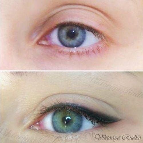 татуаж стрелки на глазах с растушевкой фото до и после: 8 ...