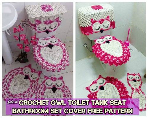 DIY Crochet Owl Toilet Tank Seat Bathroom Set Cover Free Pattern ...