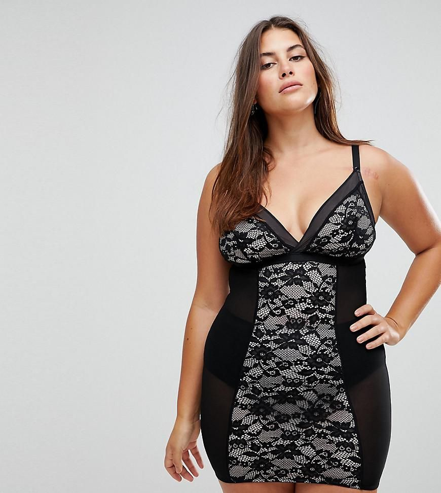 Asos new look plus new look curve lace shaping slip black