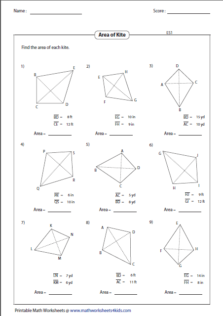 Find The Area Of Each Kite Geometry Worksheets Math
