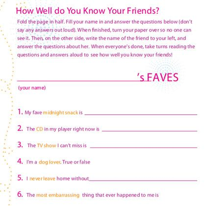 girls friendship quiz slumber party games activities for kids