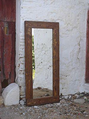 espejo rustico con marco ecológico 01, madera reciclada | Muebles ...