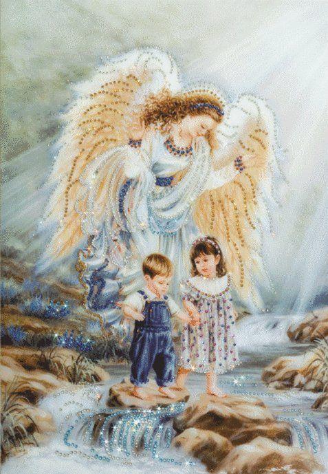 """Картина со стразами """"Ангел и дети""""   Картины, Рисунки"""