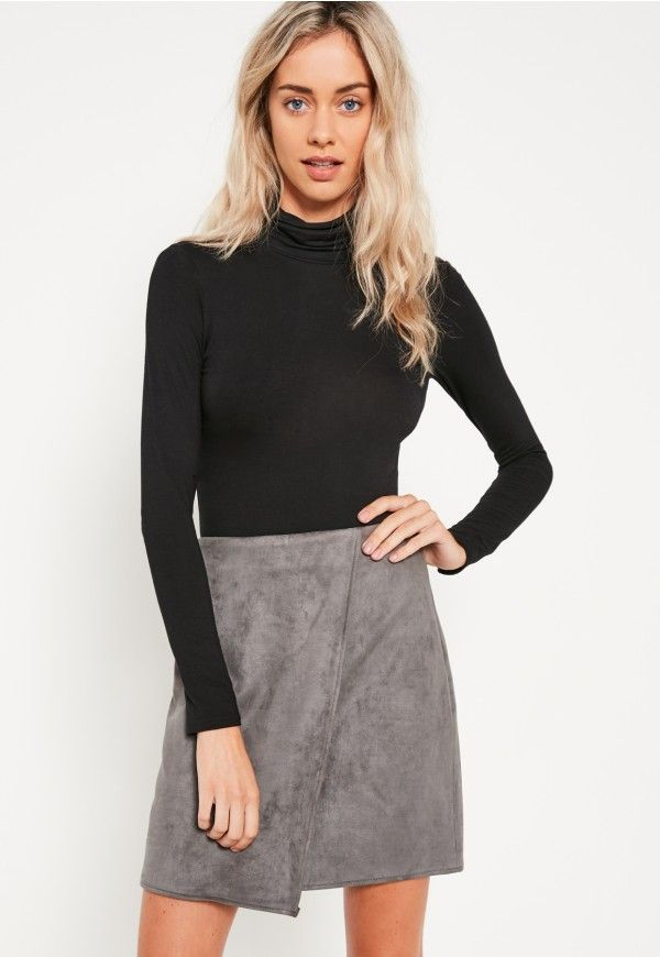 fa1ab088d0ce Grey Faux Suede Asymmetric Wrap Mini Skirt - Missguided | CHRISTMAS ...