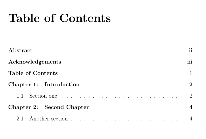 Dissertation Table Of Contents Template Apa Headings