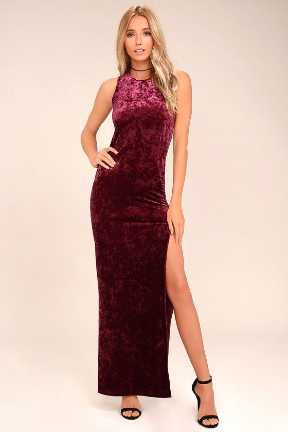 8a189b6aacee5e Love and Memories Burgundy Velvet Maxi Dress | Love dress Ladys