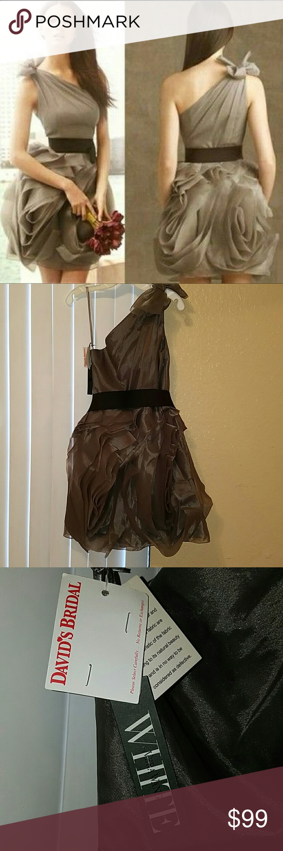 Brand New Never Worn  Vera Wang Bridesmaid dress Charcoal grey vera Wang organza bridesmaid dress.  Never worn. Tags still attached. Perfect for a cocktail dinner or wedding Vera Wang Dresses One Shoulder