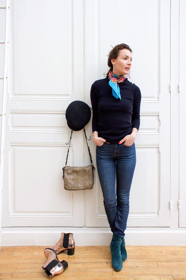 style vestimentaire confortable pull marin vintage et le petit foulard color le tout port. Black Bedroom Furniture Sets. Home Design Ideas