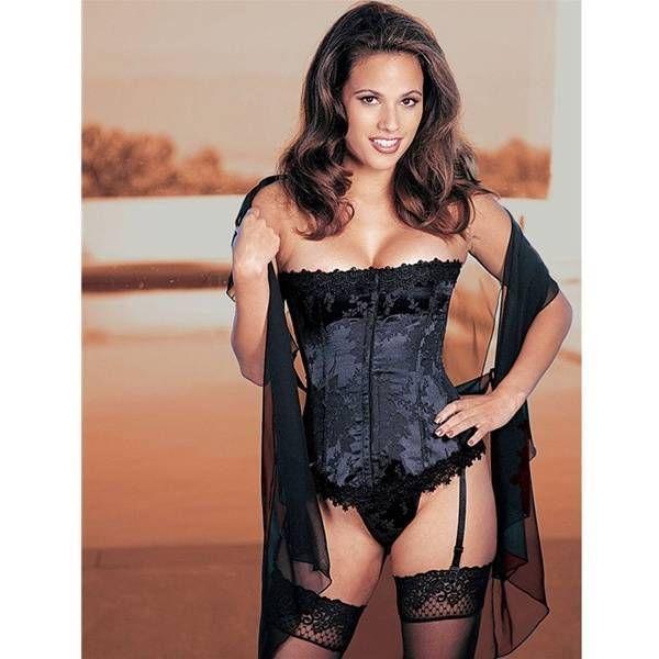 Sexy black corset bustier