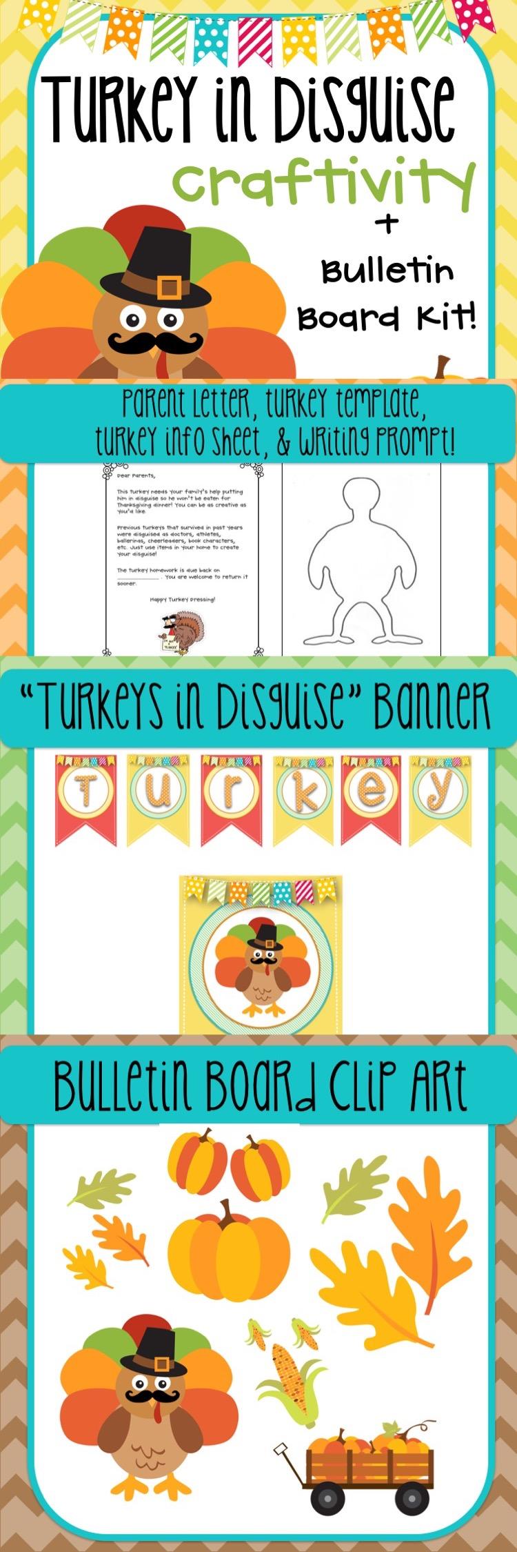 Turkeys in Disguise Thanksgiving Craftivity & Bulletin Board Kit ...